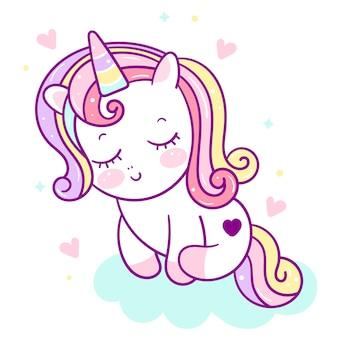 Unicorno carino kawaii innamorarsi