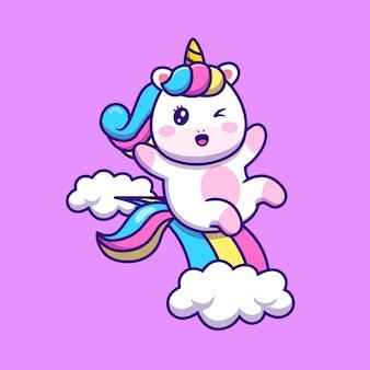 Unicorno carino scorrevole su arcobaleno fumetto illustrazione vettoriale. vettore isolato di concetto di fantasia animale. stile cartone animato piatto