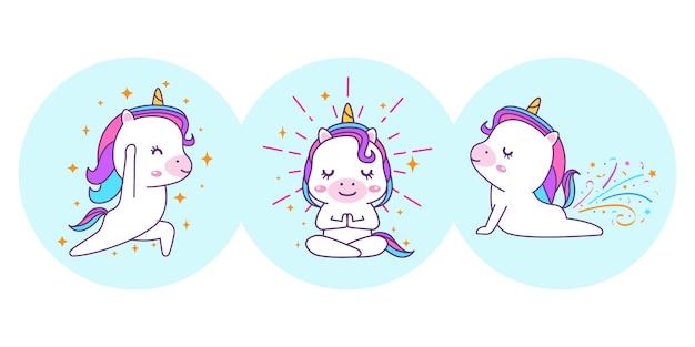 Unicorno carino sta facendo yoga pone