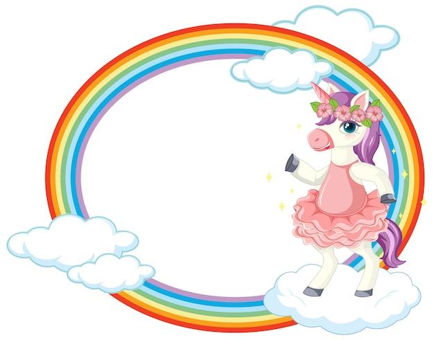 Unicorno carino sul banner del cielo