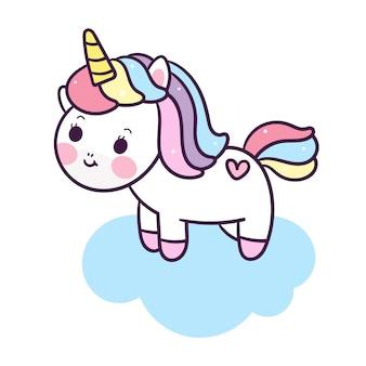 Unicorno carino vettoriale su nuvola
