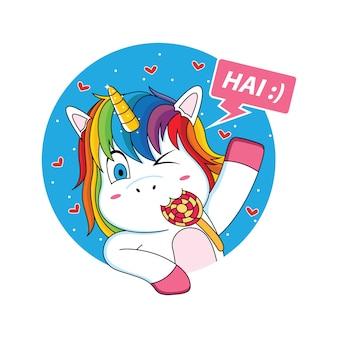 Unicorno che sta salutando con un cartone animato di lecca-lecca