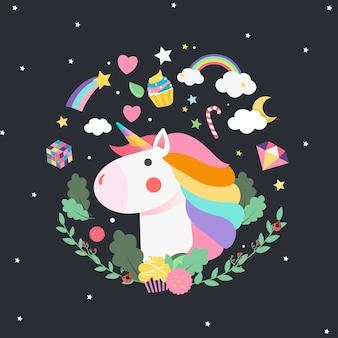 Unicorno circondato da un magico poster vettoriale
