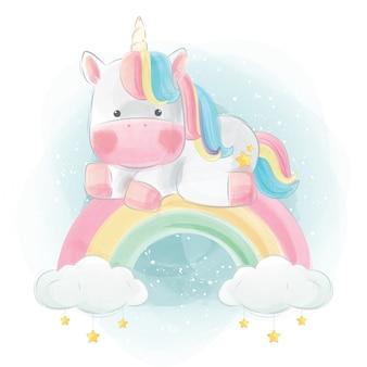 Unicorno colorato seduto sopra l'arcobaleno