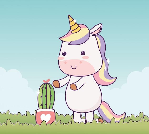 Unicorno con fantasia magica di personaggio dei cartoni animati di cactus in vaso