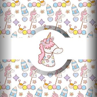 Unicorno con il biberon e lo sfondo delle cose del bambino