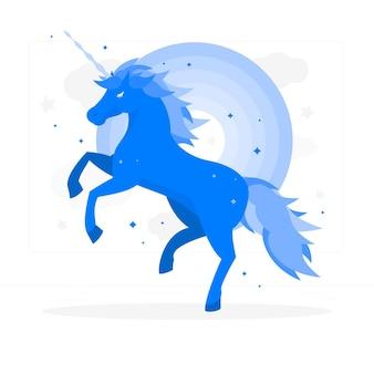 Unicorno con l'illustrazione di concetto dell'arcobaleno