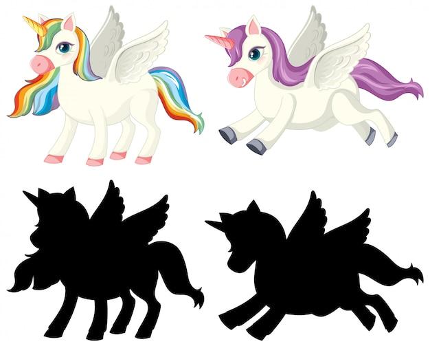 Unicorno con la sua silhouette