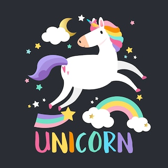 Unicorno con vettore di elementi magici