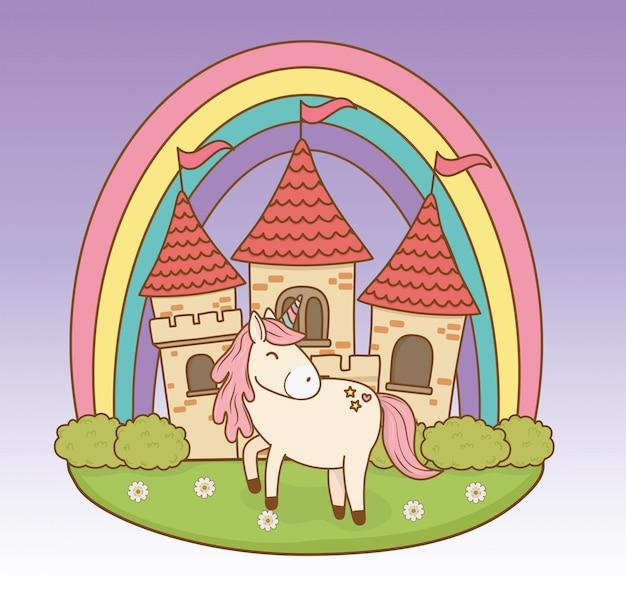 Unicorno da favola carino con castello e arcobaleno