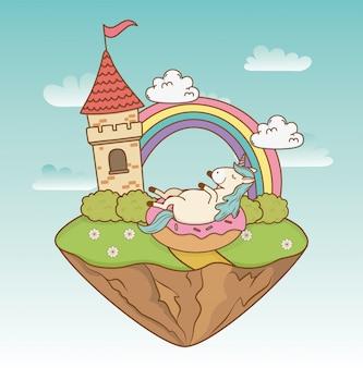 Unicorno da favola carino con castello nel paesaggio