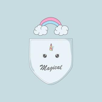 Unicorno dell'arcobaleno della nuvola nell'illustrazione della tasca della camicia