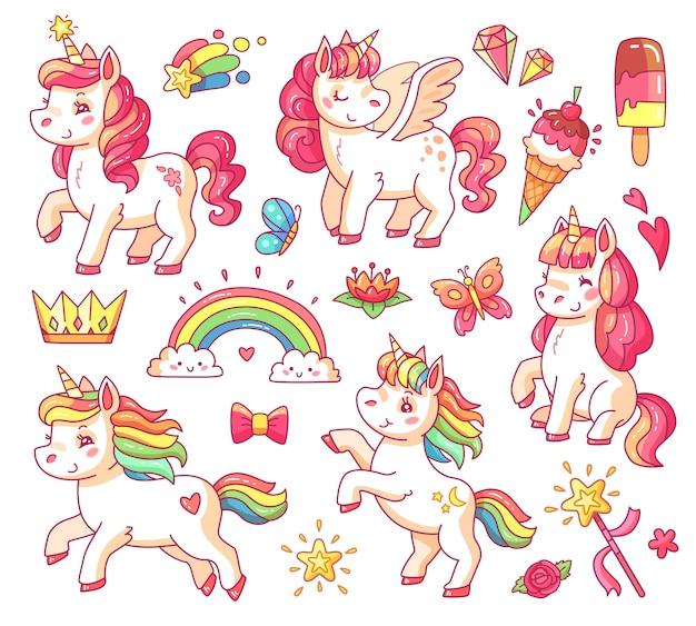 Unicorno di arcobaleno carino bambino volante con stelle d'oro e gelati dolci.