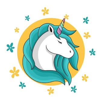 Unicorno di bellezza con capelli verdi e sfondo giallo