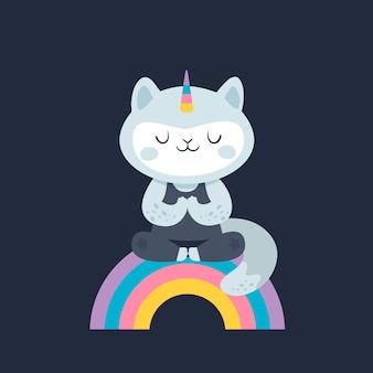 Unicorno di gatto gattino di yoga sull'arcobaleno. uno stile di vita sano.