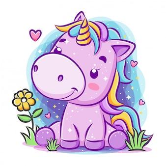 Unicorno di smiley carino giocare intorno al giardino