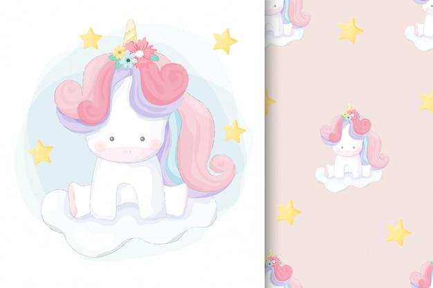 Unicorno disegnato a mano sveglio con reticolo senza giunte