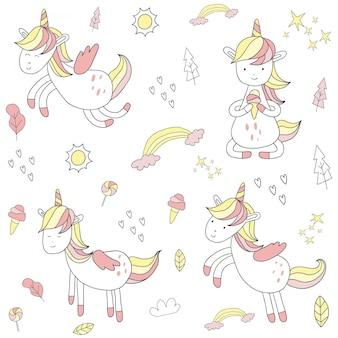 Unicorno disegnato a mano sveglio