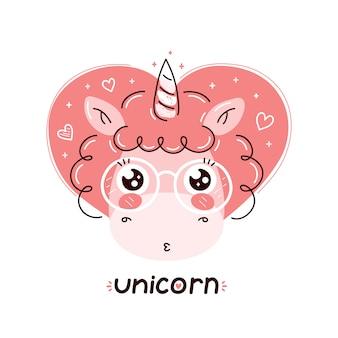 Unicorno divertente carino in bicchieri