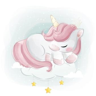 Unicorno dolce che dorme su una nuvola