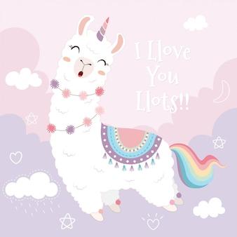 Unicorno e arcobaleno svegli della lama che galleggiano nel cielo.
