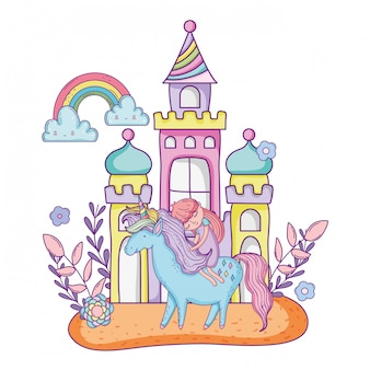 Unicorno e principessa con castello nel paesaggio