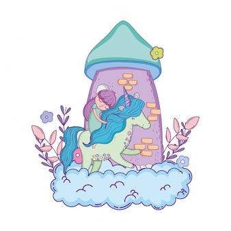 Unicorno e principessa con castello tra le nuvole
