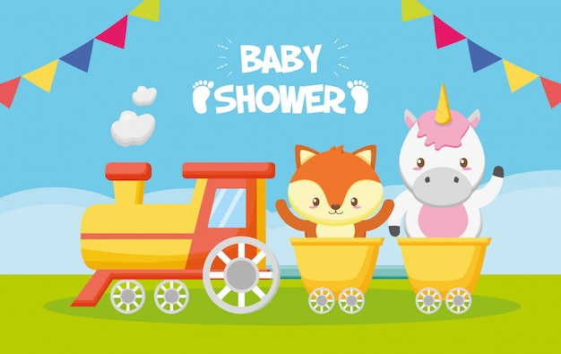 Unicorno e volpe in treno per baby shower card