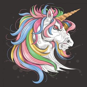 Unicorno fierce rainbow full colour