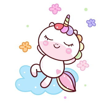 Unicorno fresco che si distende sulla nuvola con fiore
