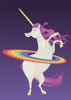 Unicorno hula hooping