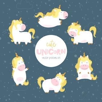 Unicorno impostato fumetto disegnato a mano in stile scandinavo. spazio cielo notturno. illustrazione carina