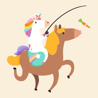 Unicorno in sella a un pony e in possesso di una carota su un vettore di bastone
