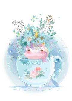 Unicorno in un giardino d'epoca in una tazza di vetro in stile doodle.