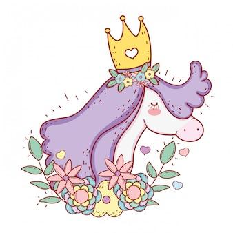 Unicorno indossa corona con fiori e foglie di piante