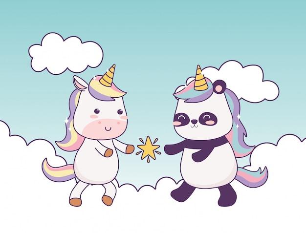 Unicorno kawaii e panda con stella in nuvole personaggio dei cartoni animati fantasia magica