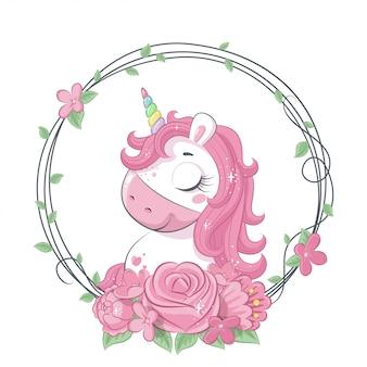 Unicorno magico carino con ghirlanda di fiori. illustrazione per baby shower, biglietto di auguri, invito a una festa, stampa di t-shirt vestiti di moda.