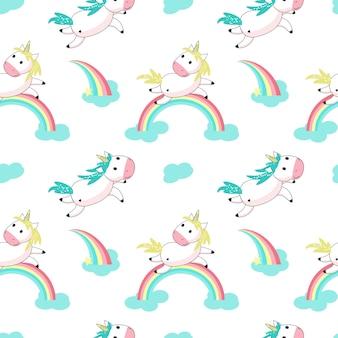 Unicorno magico con il reticolo senza giunte di vettore dell'arcobaleno
