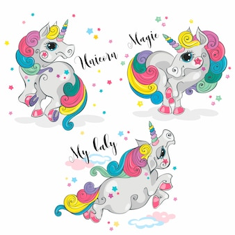 Unicorno magico Impostato. Pony fata