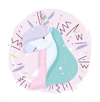 Unicorno memphis style fantasy magic cute cartoon