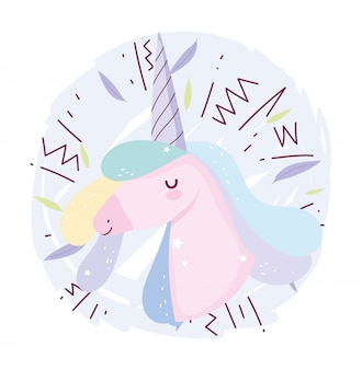 Unicorno memphys decorazione fantasia magica simpatico cartone animato