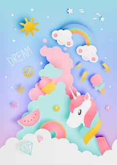 Unicorno nello stile di arte di carta con varie icone sveglie e illustrazione s pastello di vettore di schema