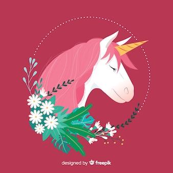 Unicorno piatto con foglie e fiori