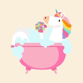 Unicorno prendendo un vettore di bagno