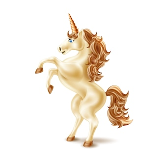 Unicorno realistico con il corno dorato che si eleva in su