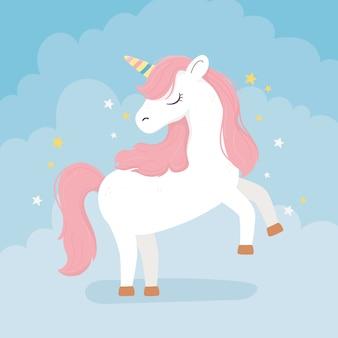 Unicorno rosa capelli stelle decorazione fantasia magia sogno simpatico cartone animato sfondo blu illustrazione