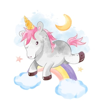 Unicorno salta sopra l'illustrazione dell'arcobaleno