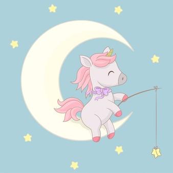 Unicorno seduto sulla luna