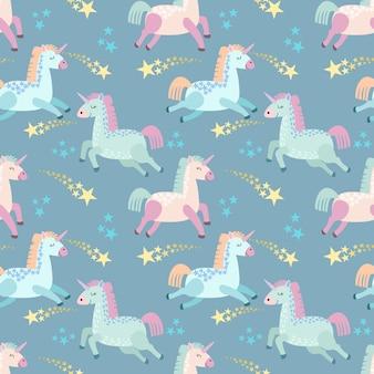 Unicorno simpatico cartone animato con stella senza cuciture.