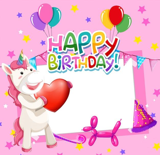 Unicorno su cornice di compleanno